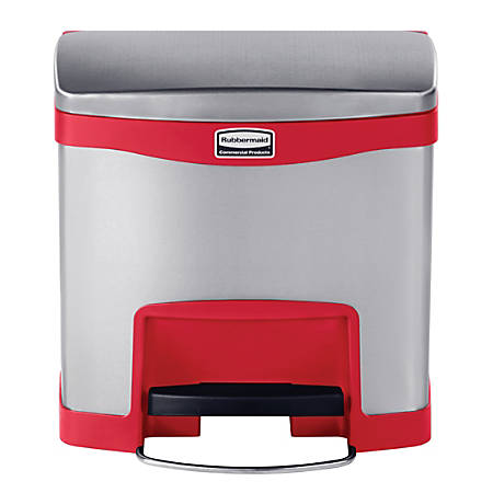 Rubbermaid® Commercial Slim Jim Rectangular Stainless-Steel Step-On Container, 4 Gallons, Stainless Steel/Red