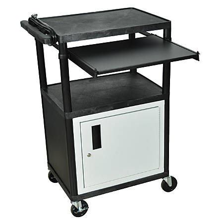 """H. Wilson Audio/Visual Cart With Front Shelf And Electrical Assembly, 42""""H x 24""""W x 18""""D, Black/Gray"""