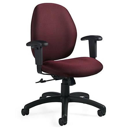 """Global® Graham Pneumatic Ergo-Tilter Chair, 37 1/2""""H x 25""""W x 26""""D, Black Frame, Rhapsody Fabric"""