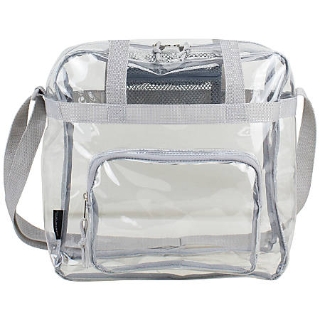 """Eastsport Clear Stadium Tote Bag, 12""""H x 12""""W x 6""""D, Silver"""