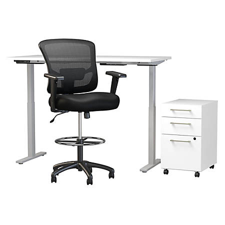 """Move 60 Series by Bush Business Furniture 60""""W Height Adjustable Standing Desk With Storage And Drafting Chair, White, Standard Delivery"""