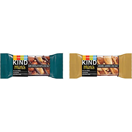 KIND Minis Snack Bar Variety Pack - Gluten-free, Individually Wrapped, Trans Fat Free, Low Sodium - Dark Chocolate Nuts and Sea Salt, Caramel Almond and Sea Salt - 0.71 oz - 10 / Box