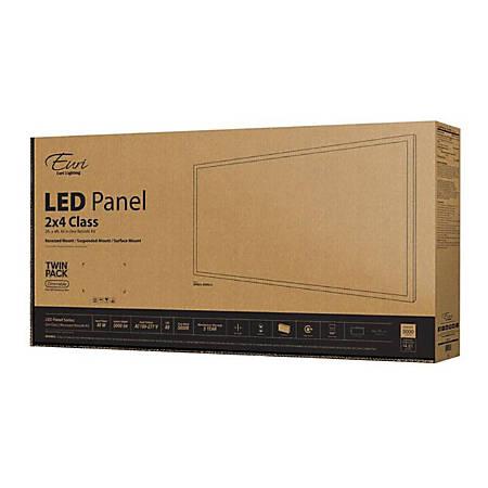 Euri Indoor LED Flat-Panel Fixtures, 2' x 4', 5000 Lumen, 40 Watts, 5000 Kelvin/Daylight, Pack Of 2 Fixtures