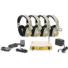 Califone 4Pk Wireless Headphones With Transmitter