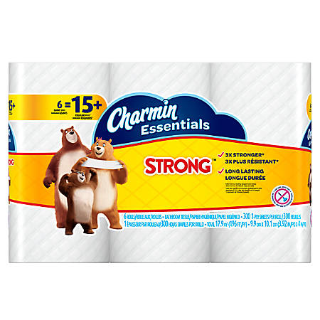 Charmin® Essentials Strong™ 1-Ply Bathroom Tissue, White, 300 Sheets Per Roll, Pack Of 6 Rolls