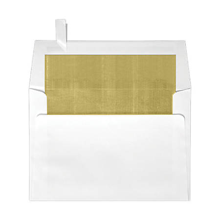 """LUX Square Envelopes With Peel & Press Closure, 6 1/2"""" x 6 1/2"""", Gold/White, Pack Of 500"""