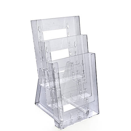 "Azar Displays Tiered Modular 3-Pocket Crystal Styrene Brochure Holders, 11 3/4""H x 6 1/4""W x 7""D, Clear, Pack Of 2"