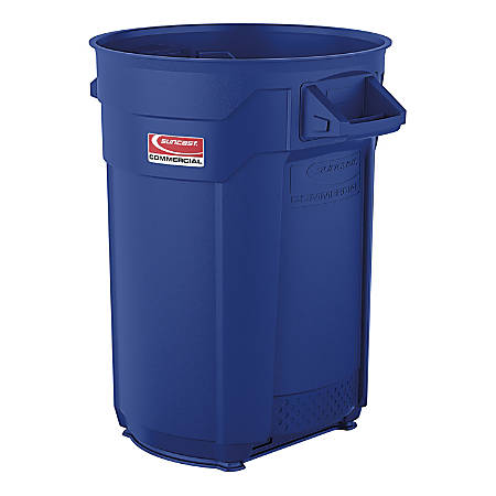 """Suncast Commercial Round Resin Utility Trash Can, 32 Gallons, 28-3/4""""H x 26-1/8""""W x 21-15/16""""D, Blue"""