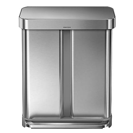 simplehuman Rectangular Stainless Steel Dual-Compartment Step Can, 15.3 Gallons, Brushed Stainless Steel