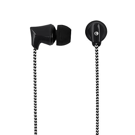 Ativa™ Plastic Earbud Headphones With Braided Cable, Black, 1258-3