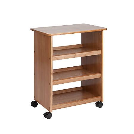"Honey-Can-Do 3-Shelf Rolling Multipurpose Cart, 24""H x 14 1/2""W x 19 1/4""D, Ash Brown"