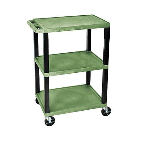 "H. Wilson 3-Shelf Plastic Specialty Utility Cart, 34""H x 24""W x 18""D, Green Shelves/Black Legs"