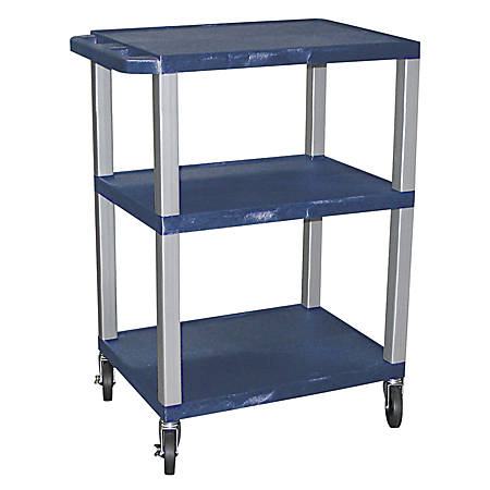 "H. Wilson 3-Shelf Plastic Specialty Utility Cart, 34""H x 24""W x 18""D, Topaz Blue Shelves/Nickel Legs"