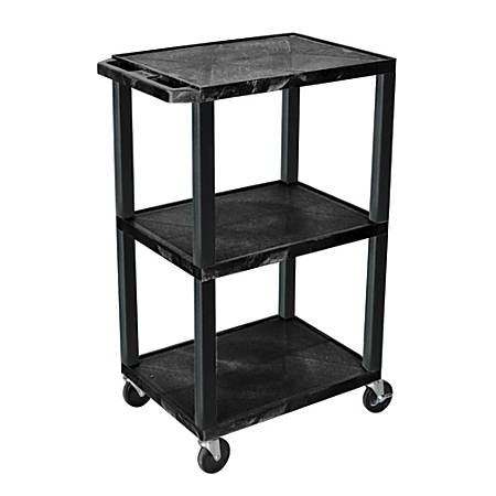 """H. Wilson 42"""" Plastic Utility Cart With Platform Shelves, 42""""H x 24""""W x 18""""D, Black"""