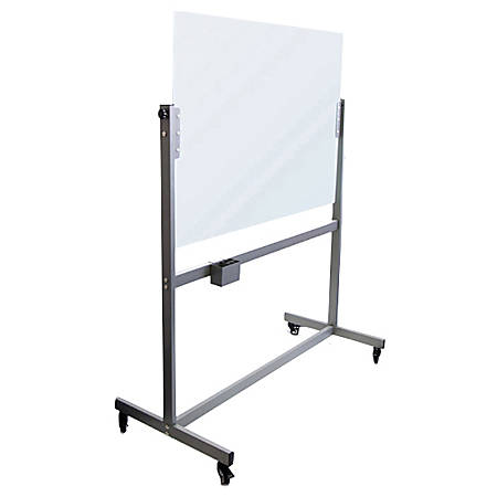 U Brands Magnetic Dry Erase Board With Rolling Easel Glass 49 X 41 White Frosted Item 5282402
