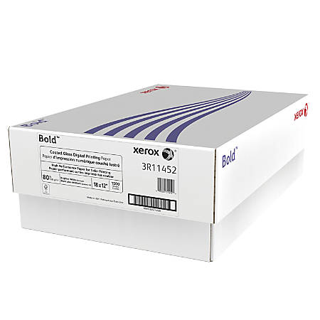 """Xerox® Bold Digital™ Coated Gloss Printing Paper, 18"""" x 12"""", 94 Brightness, 80 Lb Text (120 gsm), FSC® Certified, White, 250 Sheets Per Ream, Case Of 3 Reams"""