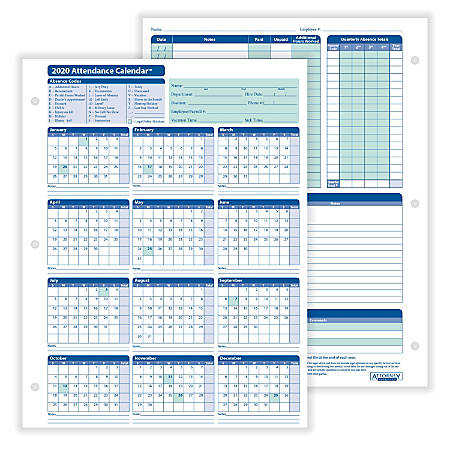"ComplyRight™ 2020 Attendance Calendar Cards, 8 1/2"" x 11"", White, Pack Of 25"