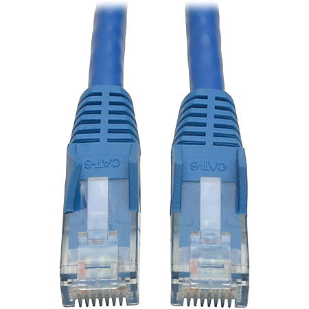 Tripp Lite 10ft Cat6 Gigabit Snagless Molded Patch Cable RJ45 M/M Blue 10' - 10ft - 1 x RJ-45 Male - 1 x RJ-45 Male - Blue