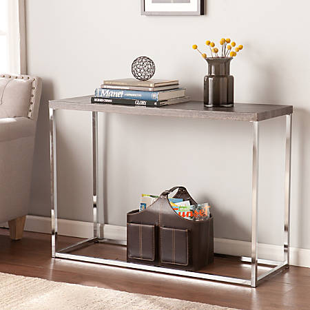 Southern Enterprises Glynn Console Table, Rectangular, Chrome/Gray