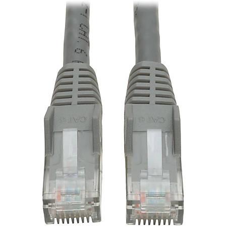 Tripp Lite 10ft Cat6 Gigabit Snagless Molded Patch Cable RJ45 M/M Gray 10' - 10ft - 1 x RJ-45 Male - 1 x RJ-45 Male - Gray