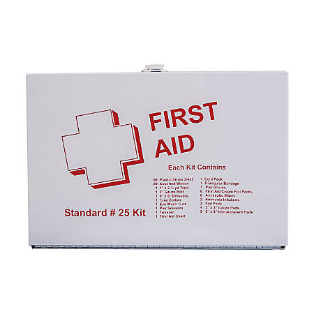"DMI® 25-Person Basic First Aid Kit, 10 1/2""H x 7 1/4""W x 2 1/2""D, White"