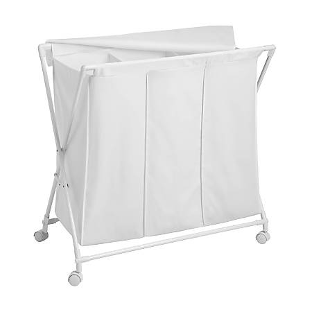 Honey-Can-Do Triple Rolling Hamper And Sorter, White