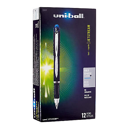uni-ball® Jetstream™ Ballpoint Pens, Bold Point, 1.0 mm, Black Barrel, Blue Ink, Box Of 12