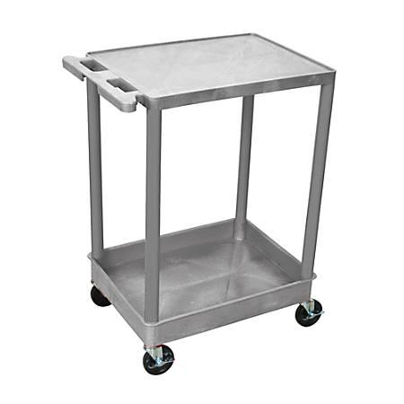 "H. Wilson Plastic Tub Cart, 35 1/16""H x 24""W x 18""D, Gray"
