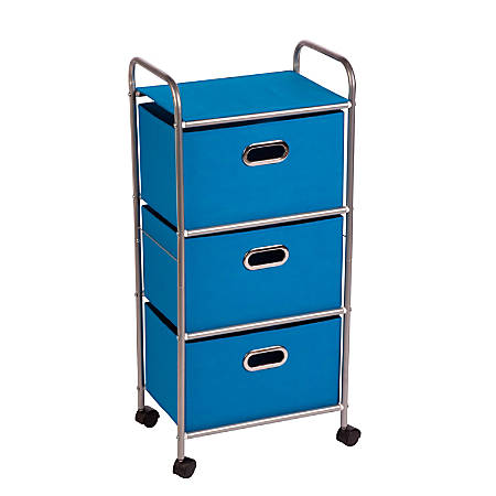Honey-Can-Do CRT-02347 3-Drawer Rolling Fabric Cart, Blue