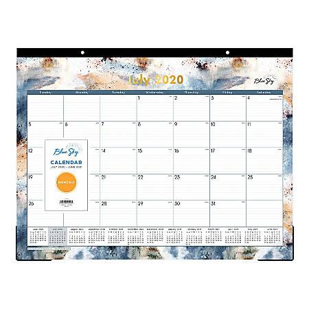 "Blue Sky™ Flint Monthly Desk Pad Calendar, 22"" x 17"", July 2020 To June 2021, 119291"