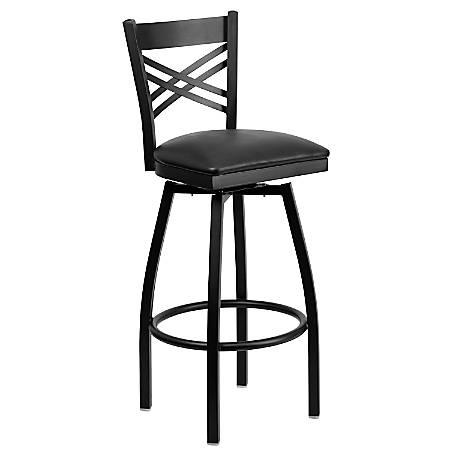 Flash Furniture X-Back Swivel Metal Bar Stool, Black