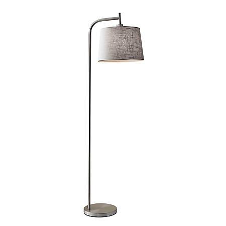 "Adesso® Blake Floor Lamp, 58""H, Gray Shade/Brushed Steel Base"