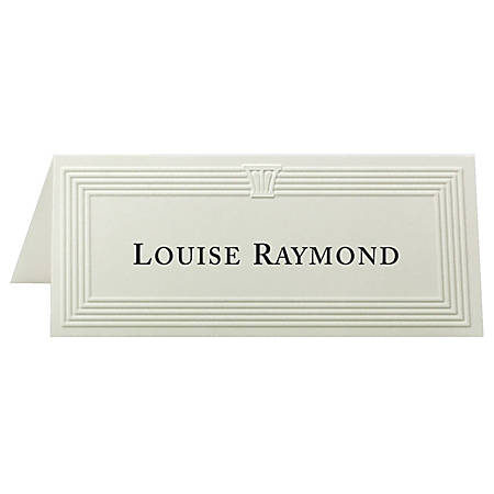 "First Base Overtures Embossed Tent Cards, 1 13/16"" x 4 1/4"", 30% Recycled, Ivory, Pack Of 60"