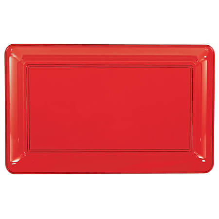 "Amscan Plastic Rectangular Trays, 11"" x 18"", Apple Red, Pack Of 4 Trays"