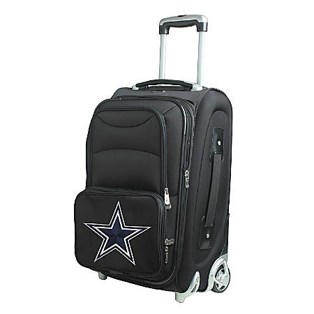 "Denco Nylon Expandable Upright Rolling Carry-On Luggage, 21""H x 13""W x 9""D, Dallas Cowboys, Black"