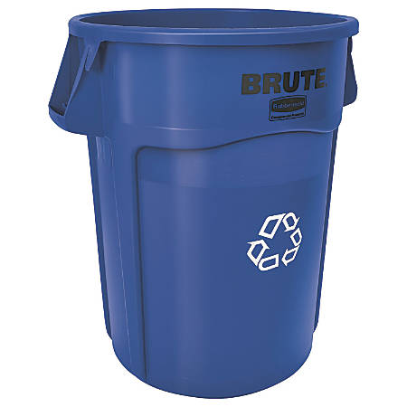 """Rubbermaid® Brute® Round Recycling Container, 24"""" W x 31 1/2""""H, Blue"""