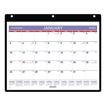 """AT-A-GLANCE® Monthly Desk/Wall Calendar With Clear Cover, 8"""" x 11"""", January To December 2020, SK800"""
