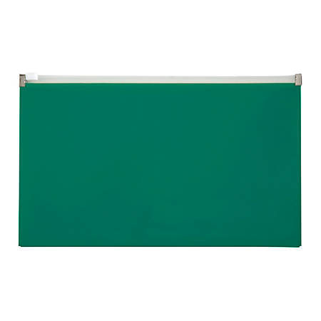 "Office Depot® Brand Fashion Zipper Envelope, Check Size, 6-1/2"" x 10-3/4"", Green"