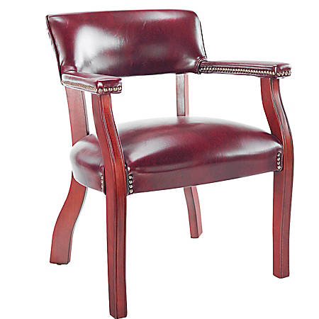 """Alera® Traditional Guest Chair With Arms, 30""""H x 23""""W x 21""""D, Mahogany Frame, Oxblood Burgundy Fabric"""