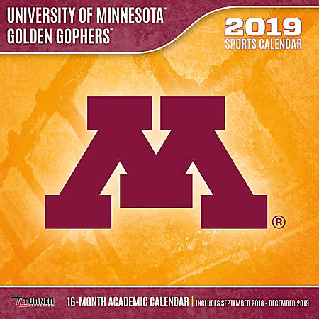 """Turner Sports Monthly Wall Calendar, 12"""" x 12"""", Minnesota Golden Gophers, January to December 2019"""
