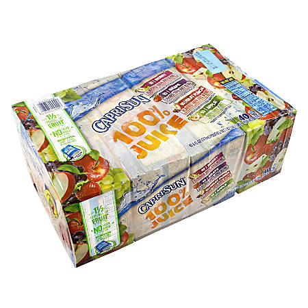 Capri Sun 100% Juice Variety Pack, Pack Of 40 Pouches