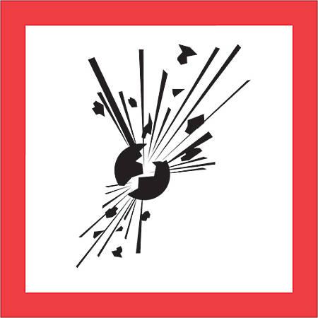 "Tape Logic® Pictogram Labels, DL4245, Exploding Bomb, Square, 2"" x 2"", Red/White/Black, Roll Of 500"