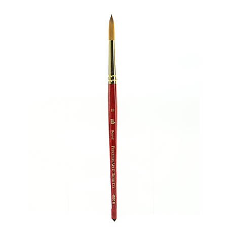 Princeton Series 4050 Synthetic Sable Watercolor Short-Handle Paint Brush, Size 10, Round Bristle, Sable Hair, Red