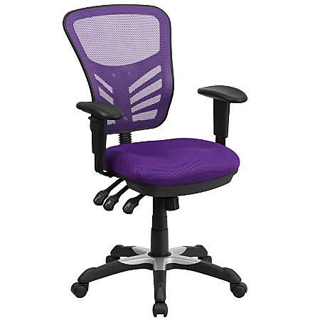 Flash Furniture Mesh Mid-Back Swivel Task Chair, Purple/Black