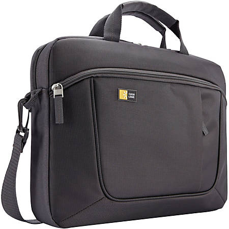 "Case Logic Carrying Case for 14.1"" Notebook - Anthracite - Polyester - Luggage Strap, Shoulder Strap, Handle - 11.4"" Height x 14.6"" Width x 2.8"" Depth"