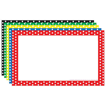 "Top Notch Teacher Products® Polka Dot Border Index Cards, 4"" x 6"", Assorted Colors, 75 Cards Per Pack, Case Of 6 Packs"