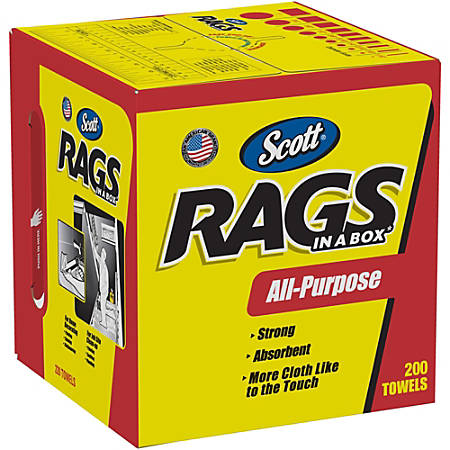 "Scott Rags In A Box Towels - Wipe - 10"" Width x 13"" Length - 200 / Box - 8 / Carton - White"