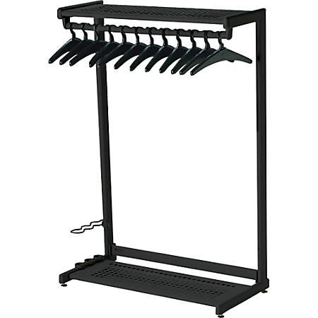 "Quartet® Garment Rack With Hangers, 12 Hangers, 2 Shelves, 48"" Width, Black"