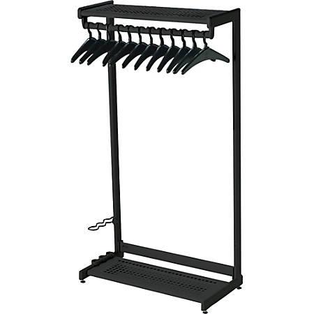 "Quartet® Garment Rack With Hangers, 12 Hangers, 2 Shelves, 36"" Width, Black"