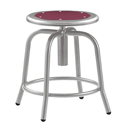 National Public Seating 6800 Height-Adjustable Swivel Stool, Wine/Gray